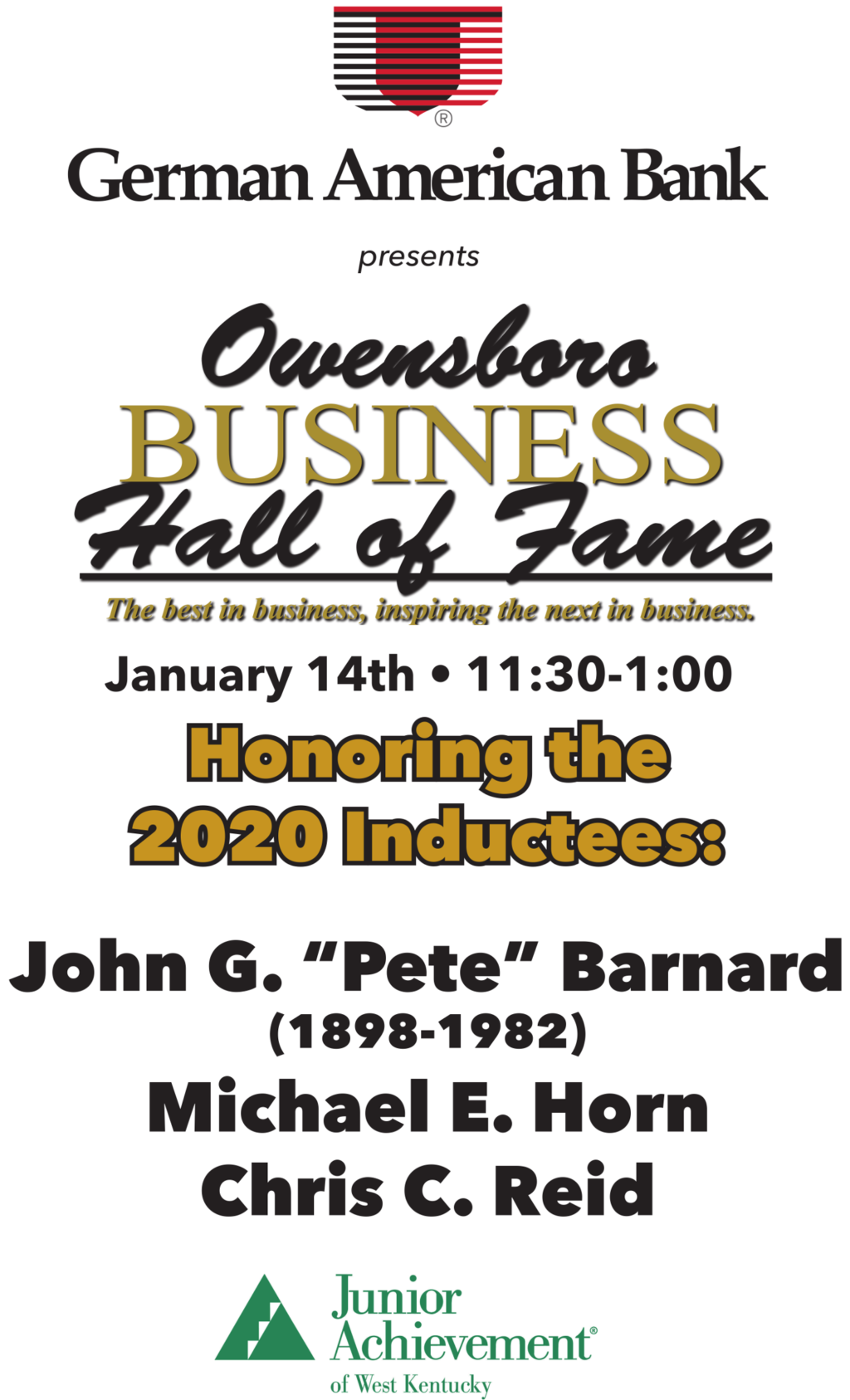 German American Bank presents the Owensboro Business Hall of Fame