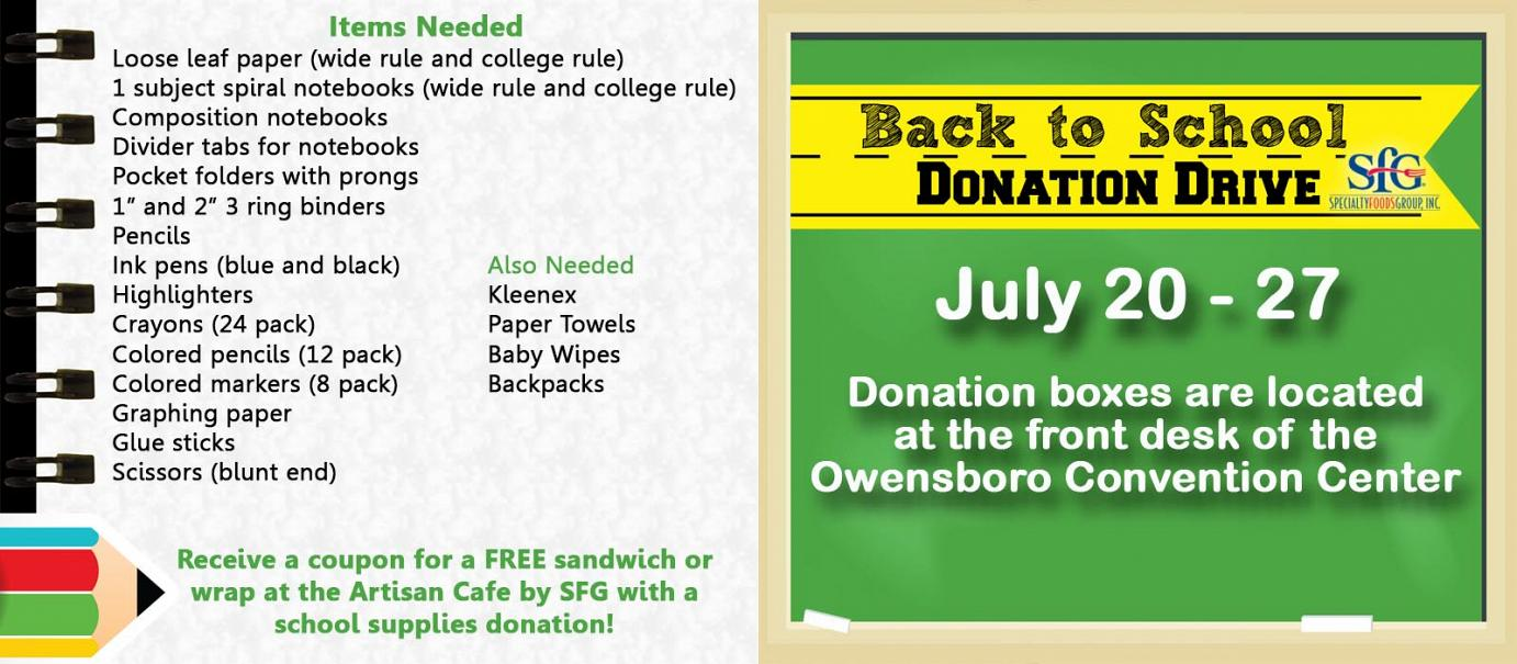 SFG Back to School Donation Drive